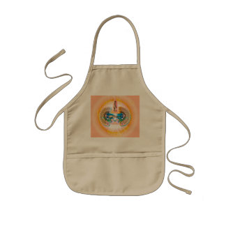 Surfing, surfboard with water splash and waves kids' apron