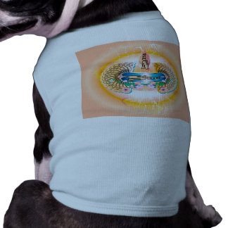Surfing, surfboard with water splash and waves doggie tshirt