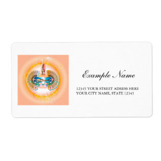 Surfing, surfboard with water splash and waves shipping label