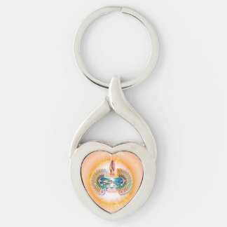 Surfing, surfboard with water splash and waves Silver-Colored twisted heart keychain