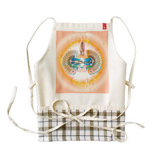 Surfing, surfboard with water splash and waves zazzle HEART apron