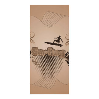 Surfing, surfboarder 4x9.25 paper invitation card