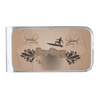Surfing, surfboarder silver finish money clip
