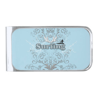 Surfing, surfboarder with elegant floral elements silver finish money clip