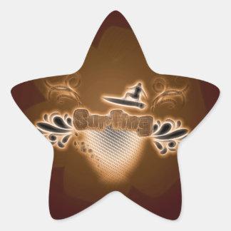 Surfing, surfboarder with floral elements star sticker