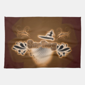 Surfing, surfboarder with floral elements towel