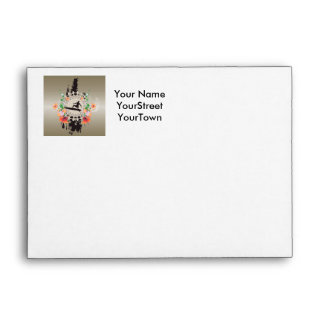 Surfing, surfboarder with flowers envelope