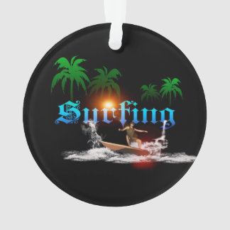 Surfing, surfboarder with palm