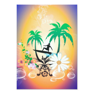 "Surfing, surfboarder with palm and flowers 5"" x 7"" invitation card"