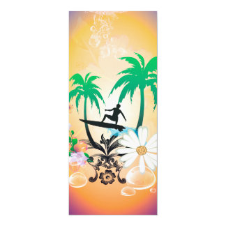 "Surfing, surfboarder with palm and flowers 4"" x 9.25"" invitation card"