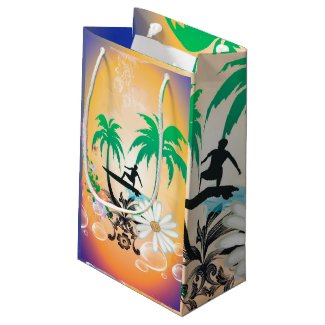 Surfing, surfboarder with palm and flowers small gift bag