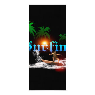 Surfing, surfboarder with palm 4x9.25 paper invitation card