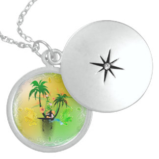 Surfing, surfboarder with plam round locket necklace