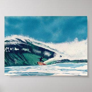Surfing Surfer Green Sea Wave Baja California Art Poster