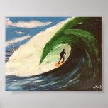 Surfing Surfer The Tube Ride Wave ocean Art Poster