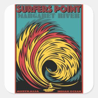 SURFING SURFERS POINT MARGARET RIVER AUSTRALIA SQUARE STICKER