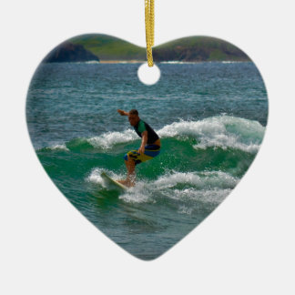 Surfing Tamarindo Double-Sided Heart Ceramic Christmas Ornament