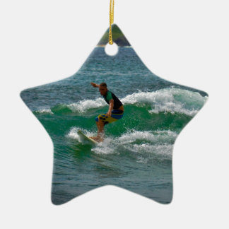 Surfing Tamarindo Double-Sided Star Ceramic Christmas Ornament