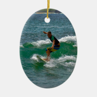 Surfing Tamarindo Double-Sided Oval Ceramic Christmas Ornament