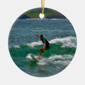 Surfing Tamarindo Double-Sided Ceramic Round Christmas Ornament