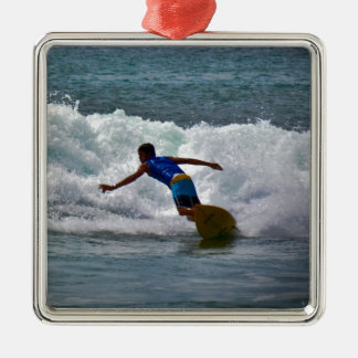 Surfing Tamarindo Square Metal Christmas Ornament