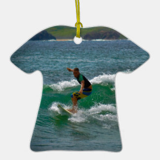 Surfing Tamarindo Double-Sided T-Shirt Ceramic Christmas Ornament