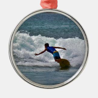 Surfing Tamarindo Round Metal Christmas Ornament