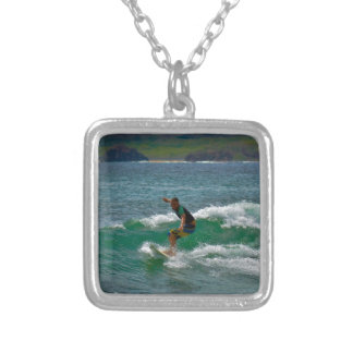Surfing Tamarindo Silver Plated Necklace