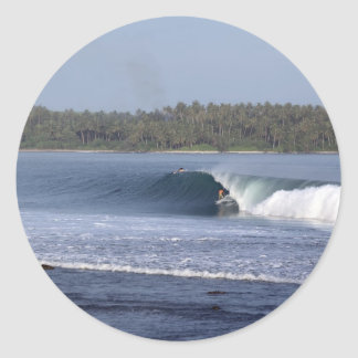 Surfing the perfect wave Lagundri Bay Nias Classic Round Sticker