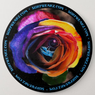 Surfing the Rainbow Rose Button