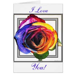 Surfing the Rainbow Rose I Love You Card