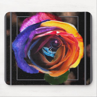 Surfing the Rainbow Rose Mousepad
