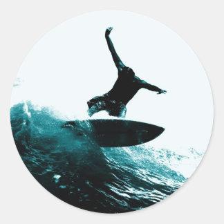 Surfing the Wave Classic Round Sticker