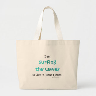 surfing the waves tote bags
