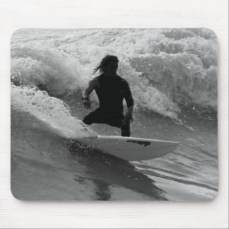 Surfing The Waves Grayscale Mouse Pad