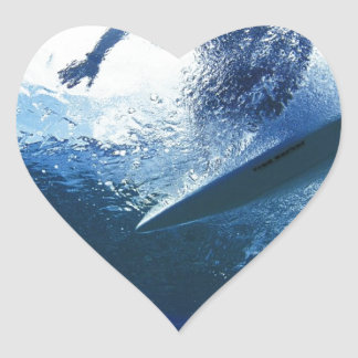 Surfing Time in The Beach Heart Sticker