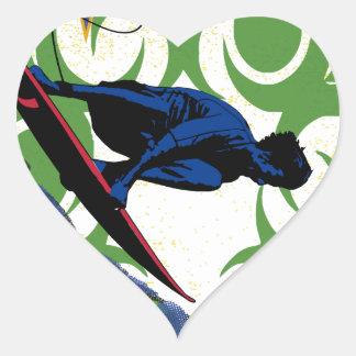 surfing tribal heart sticker