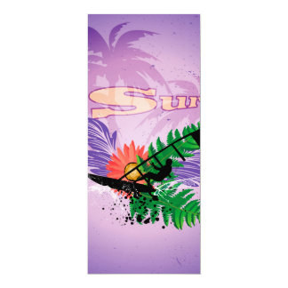 "Surfing, tropical design 4"" x 9.25"" invitation card"