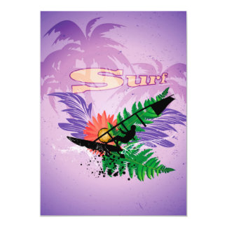 "Surfing, tropical design 5"" x 7"" invitation card"