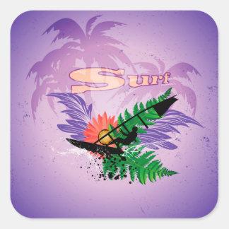 Surfing, tropical design square sticker