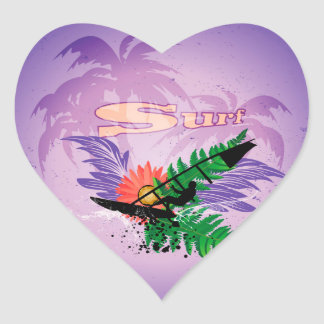 Surfing, tropical design heart stickers
