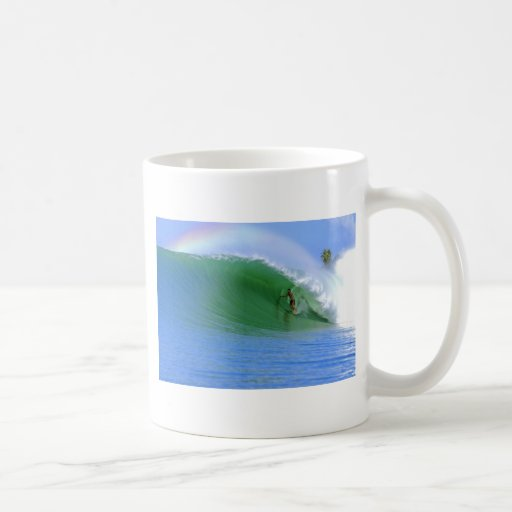 Surfing tropical island wave classic white coffee mug