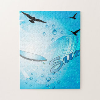 Surfing, Tropical, surfboard with wave Jigsaw Puzzle