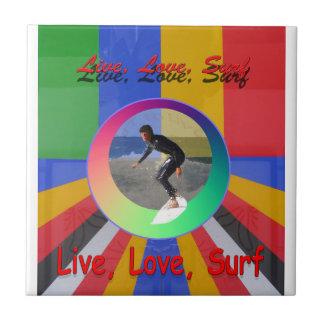 Surfing water sports art design tile