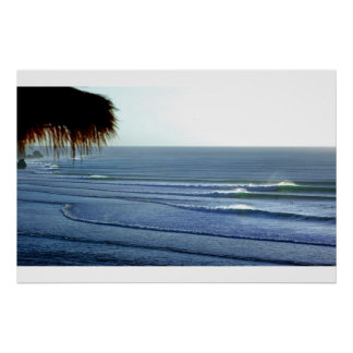 Surfing Waves Breaking in Bali Poster