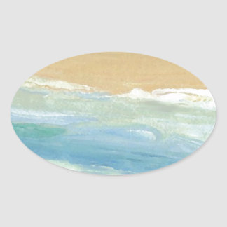 Surfing Waves in Motion Ocean Waves Beach Decor Oval Sticker