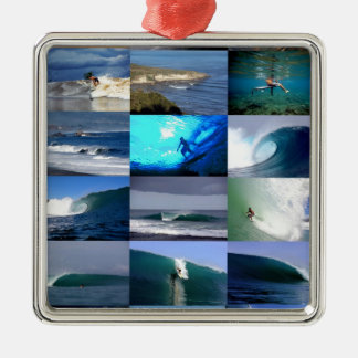 Surfing waves montage square metal christmas ornament