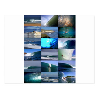 Surfing waves montage postcards