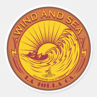 SURFING WIND AND SEA LA JOLLA CALIFORNIA CLASSIC ROUND STICKER