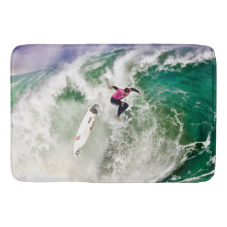 Surfing Wipeout in Stormy Ocean Bathroom Mat